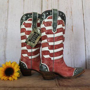 Corral Authentic Leather American Flag Cowboy Boot